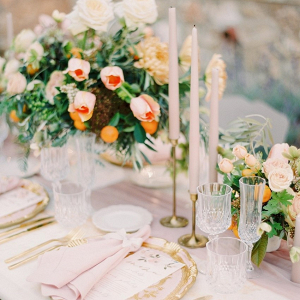 Blush and orange garden wedding tablescape