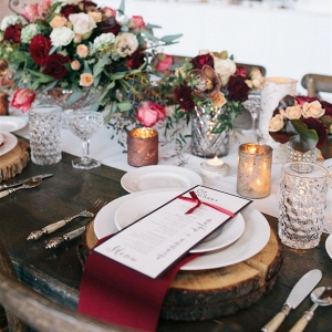 Rustic Marsala Wedding Place Setting
