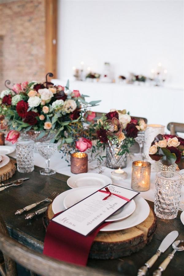 Rustic Marsala Wedding Place Setting