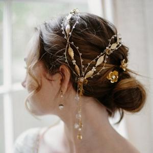 Gold Gemstone Bridal Hair Ornament from Erica Elizabeth Designs
