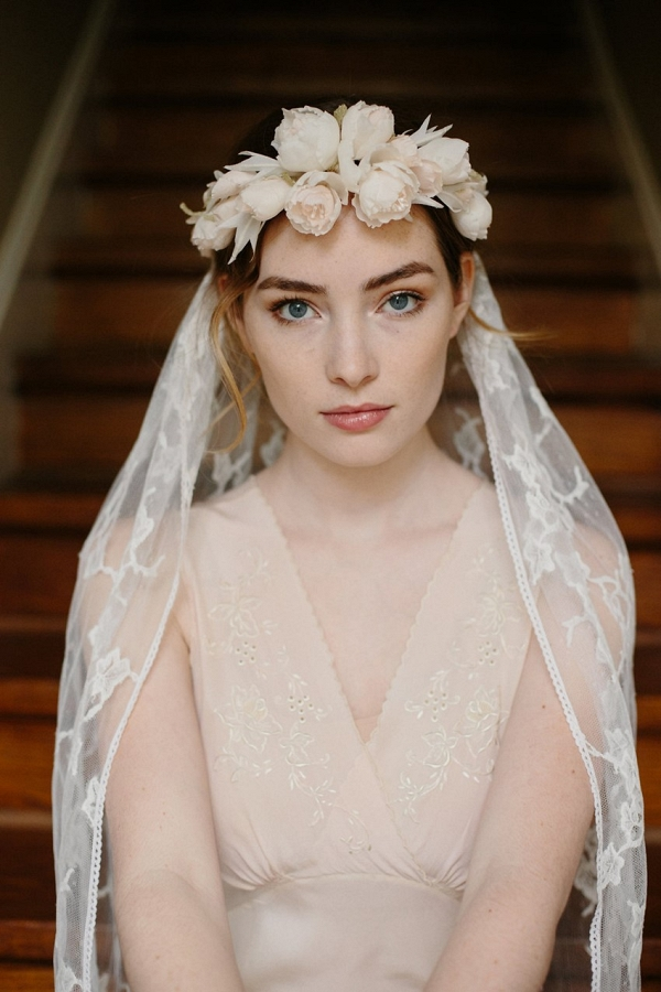 Heart & Soul Bridal Flower Crown with Chantilly Lace Veil from Erica Elizabeth Designs