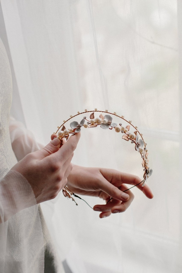 Bellatrix Rose Gold Bridal Crown from Erica Elizabeth Designs