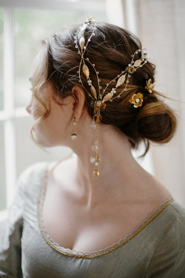 Gold Gemstone Bridal Hair Ornament from Erica Elizabeth Designs