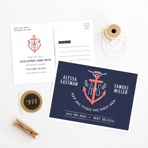 Nautical Anchor Wedding Save the Date Card