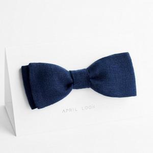 Navy Blue Linen Bow Tie