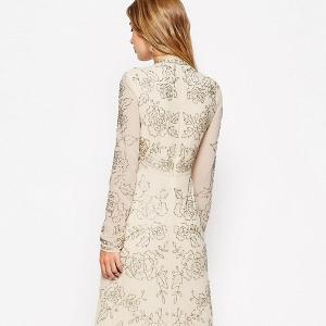 Needle & Thread Lace Embellished Plunge Maxi Dress