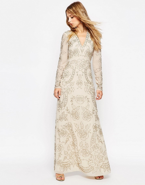 Needle & Thread Lace Embellished Plunge Maxi Dress
