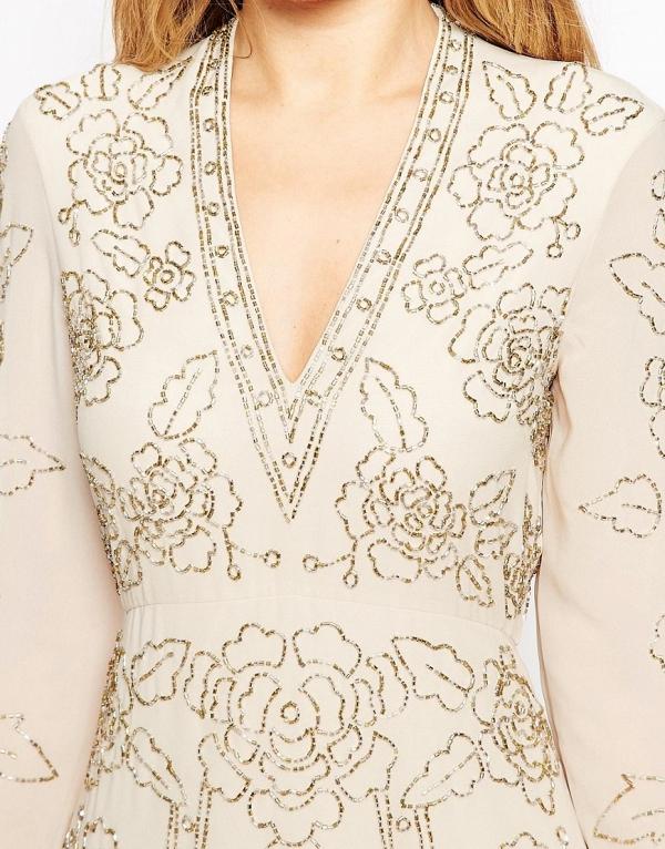 Needle & Thread Lace Embellished Plunge Neckline