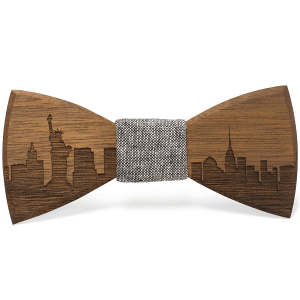 Wood Engraved NYC Sky Line Bow Tie