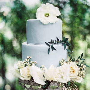 dusty blue wedding cake on Chic Vintage Brides