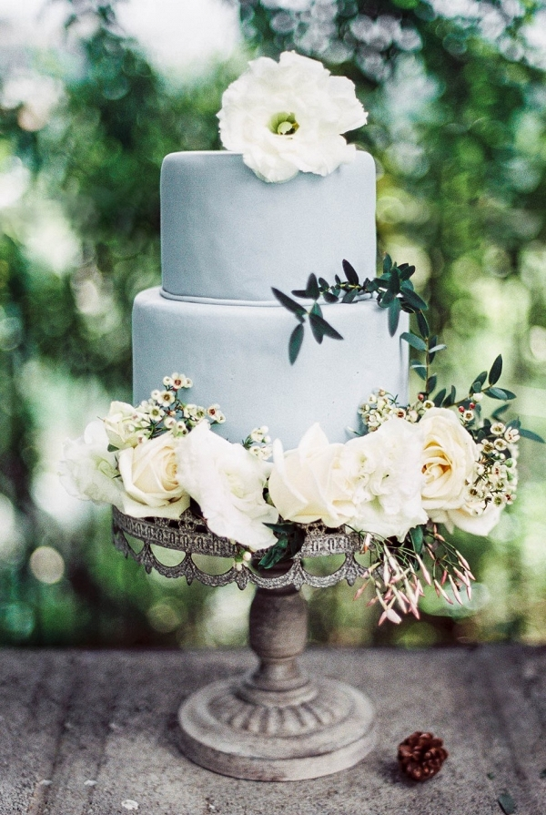 dusty blue wedding cake on Chic Vintage Brides