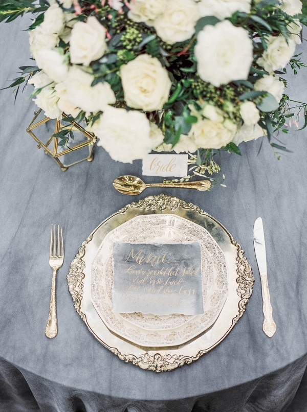 Silver and blue place setting on Chic Vintage Brides