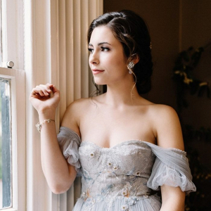 Off the shoulder light blue wedding dress