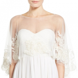 'Ophelia' Embroidered Tulle Bridal Cape