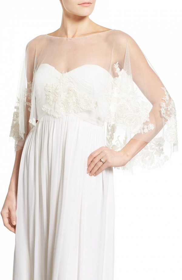'Ophelia' Embroidered Tulle Bridal Capelet