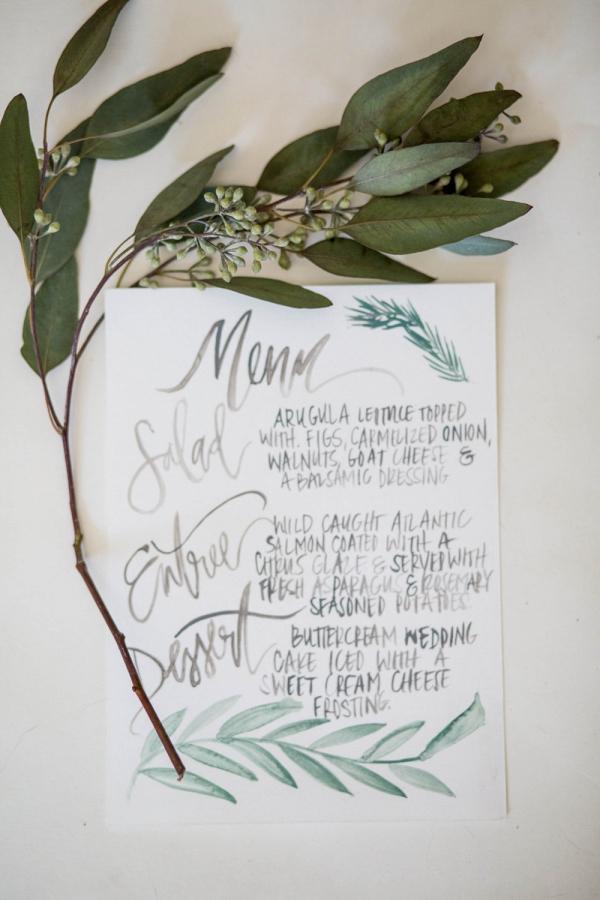 Organic Watercolor Calligraphy Wedding Menu