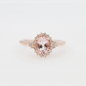 Morganite & Diamond Halo Engagement Ring
