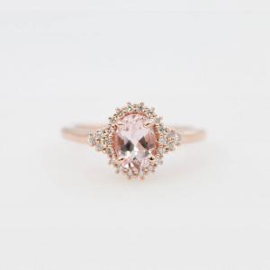 Morganite & Diamond Halo Engagement Ring