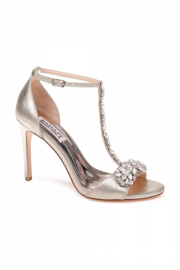 Metallic T Strap Bridal Sandal