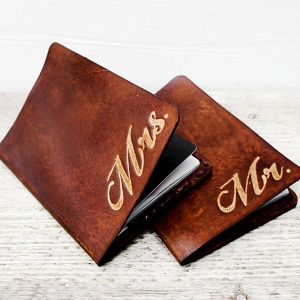 Mr & Mrs Leather Passport Holders