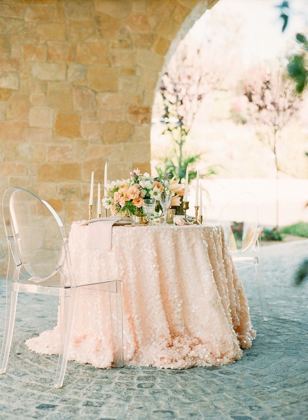 Peach Square Sequin Wedding Table Linens
