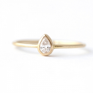 Pear Diamond Modern Engagement Ring