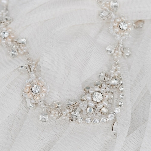 Pearl & Crystal Floral Bridal Necklace