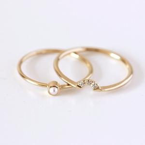 Modern Pearl & Diamond Wedding Ring Set