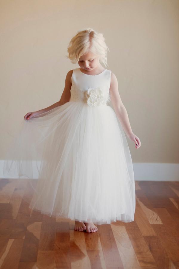 Silk Tulle Flower Girl Dress