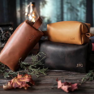 Personalised Leather Mens Toiletry Bag