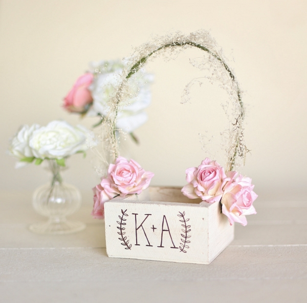 Personalized Rustic Chic Flower Girl Basket with Paper Roses