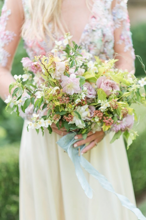 Light green and pink bridal bouquet