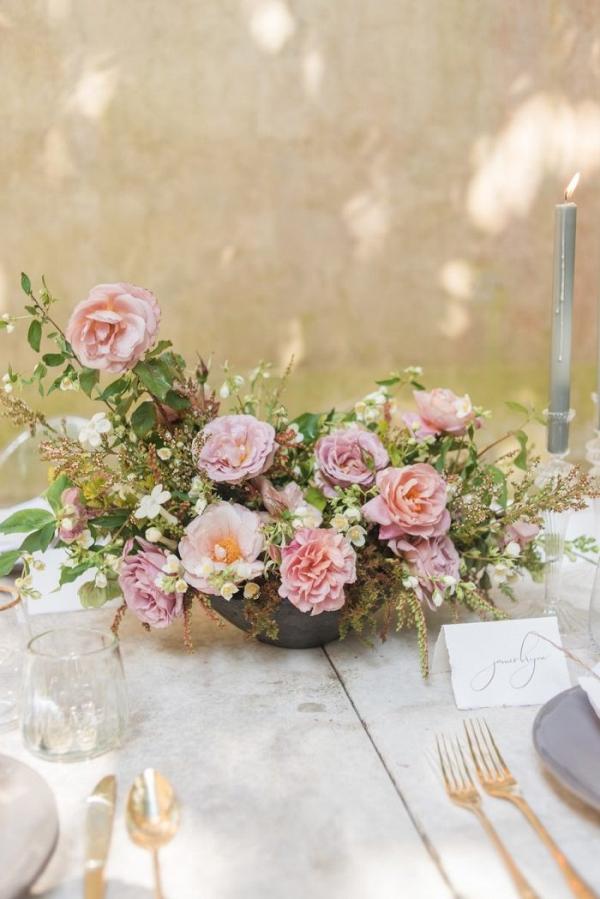 Spring pink floral centerpiece
