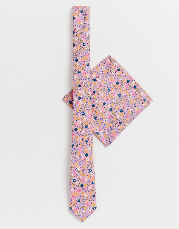 Slim Tie & Pocket Square in Pink Ditsy