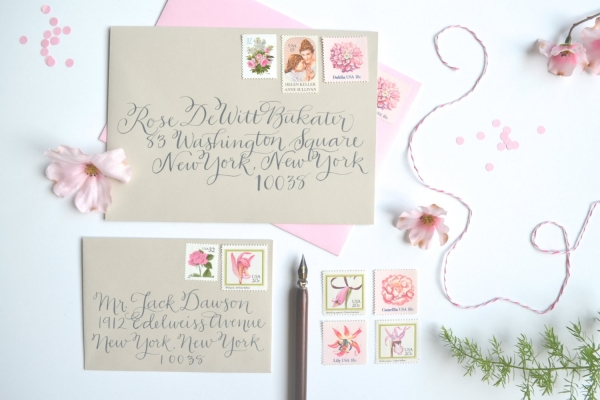 Vintage Pink Floral Wedding Postage Stamp Suite