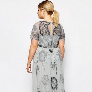 Plus Size Embellished Maxi Bridesmaid Dress