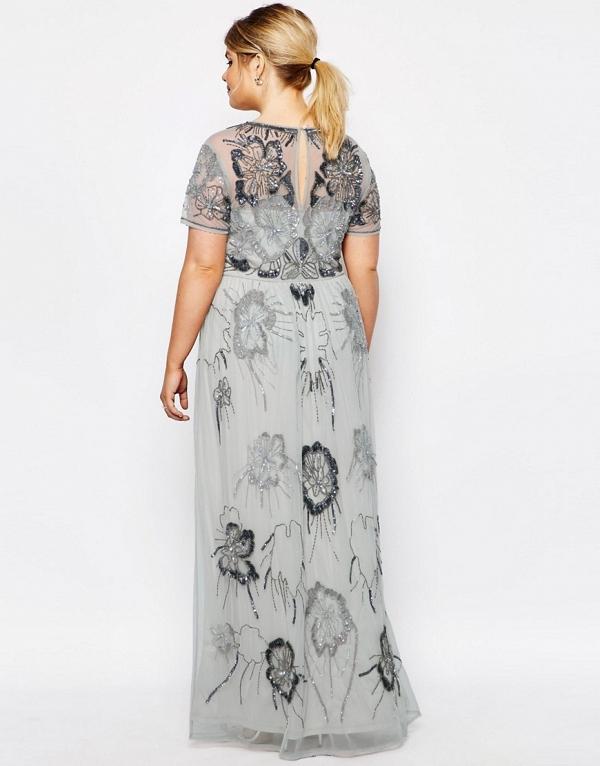 Plus Size Embellished Maxi Bridesmaid Dress