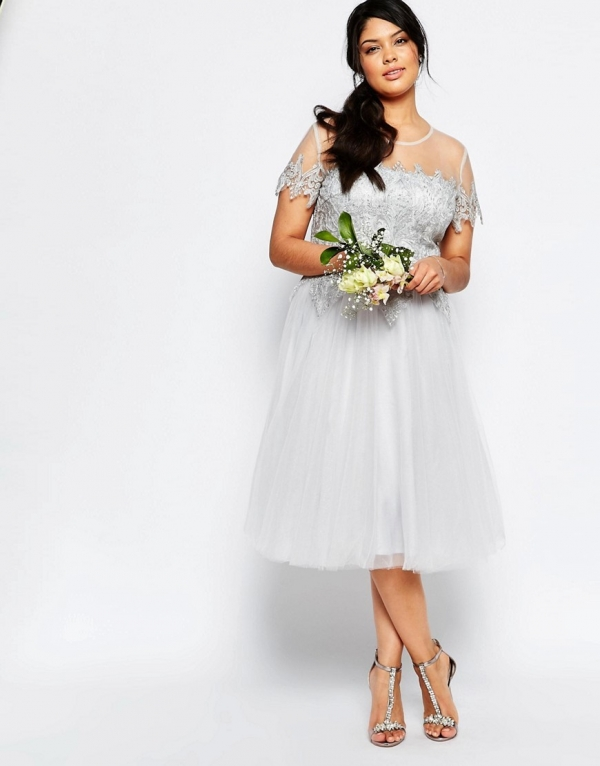 Plus Size Tulle and Lace Midi Bridesmaid Dress in Silver Gray