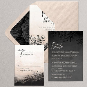 Gothic Floral Wedding Invitation Suite