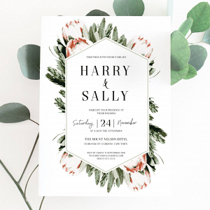 Protea Printable Wedding Invitation