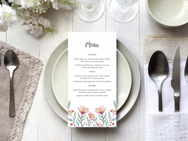 Protea Printable Wedding Menu