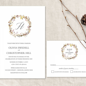 Printable Rustic Fall Wedding Invitation