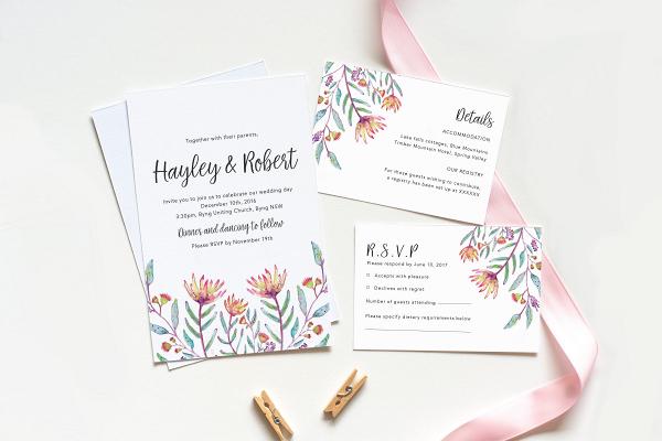 Protea Printable Wedding Invitation Suite