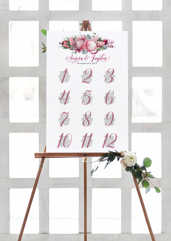 Printable Protea Wedding Seating Chart