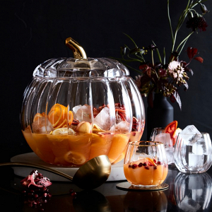 Glass Pumpkin Punch Bowl