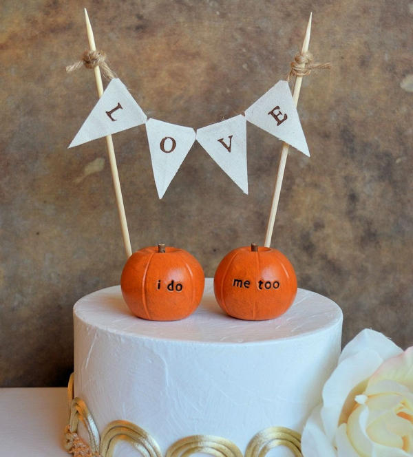 I Do Me Too Pumpkin Wedding Cake Topper