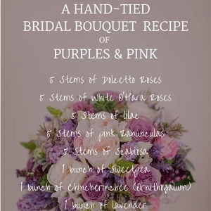 Purple & Pink Spring Bridal Bouquet Recipe