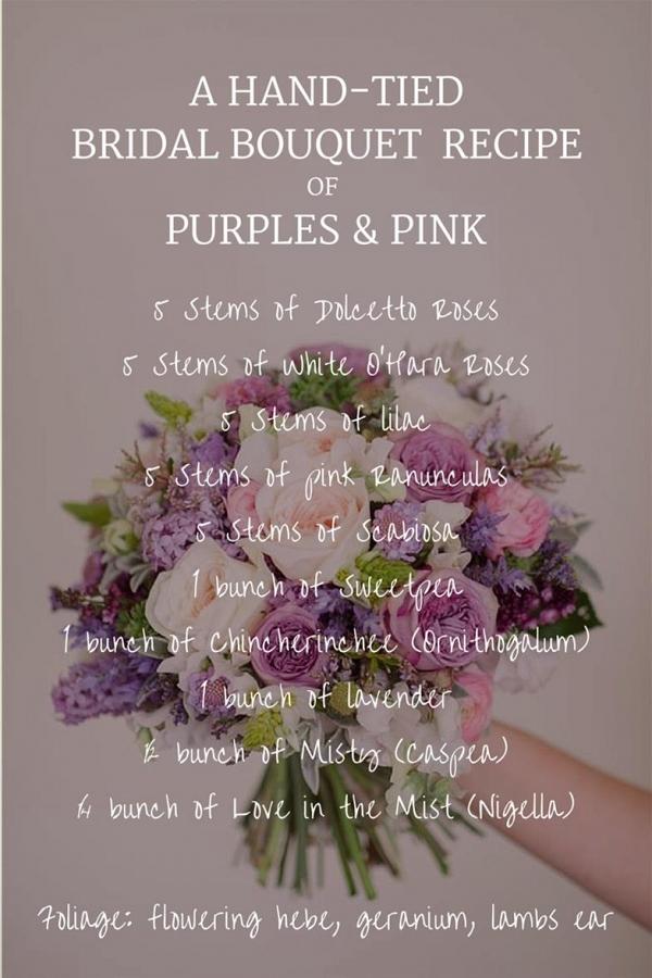 Purple & Pink Spring Bridal Bouquet Recipe