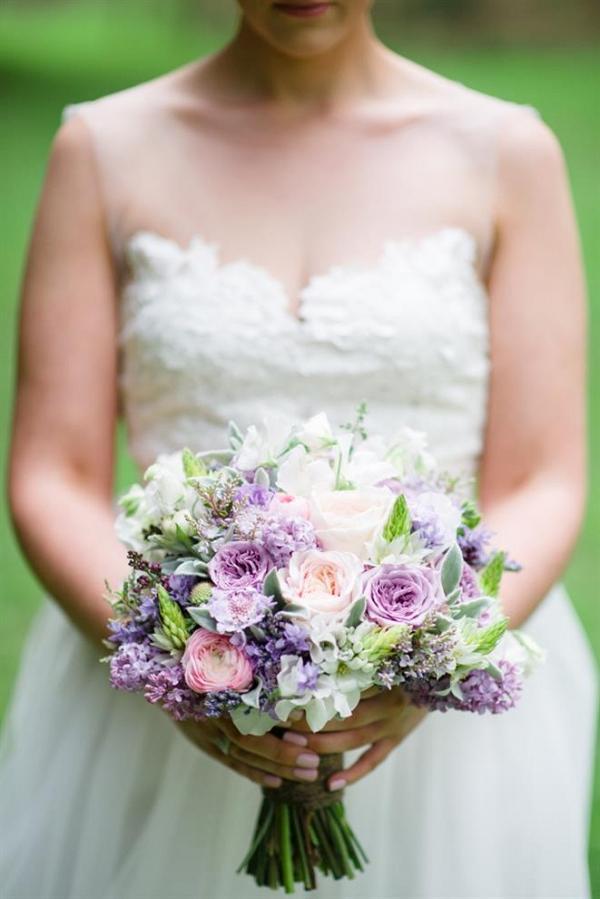 Romantic Purple & Pink Spring Bridal Bouquet