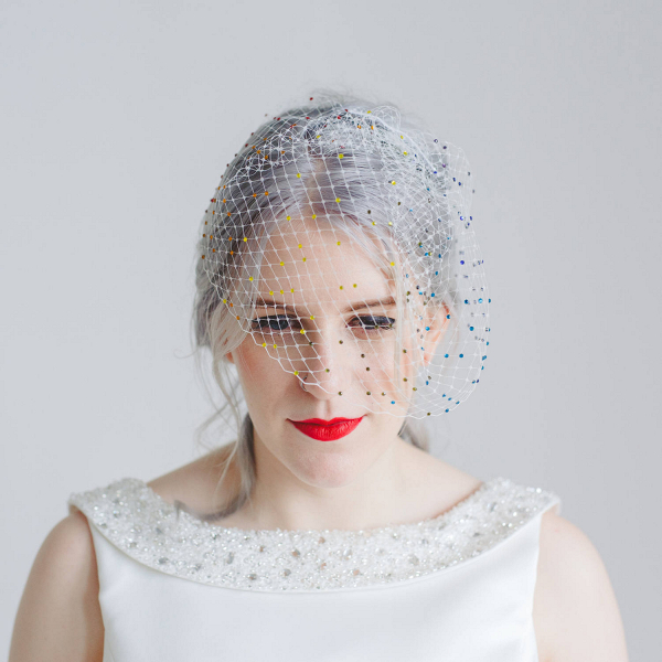 Rainbow Beaded Birdcage Veil